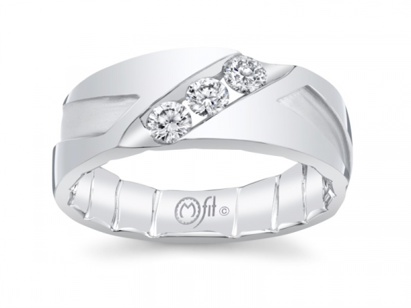 10k white gold mens band with diagonal set channel with diamonds by MFIT