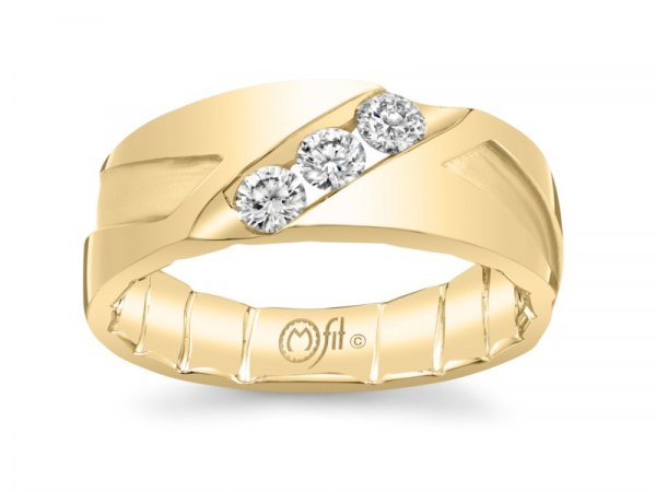 10k yellow gold mens band with diagonal set channel with diamonds by MFIT