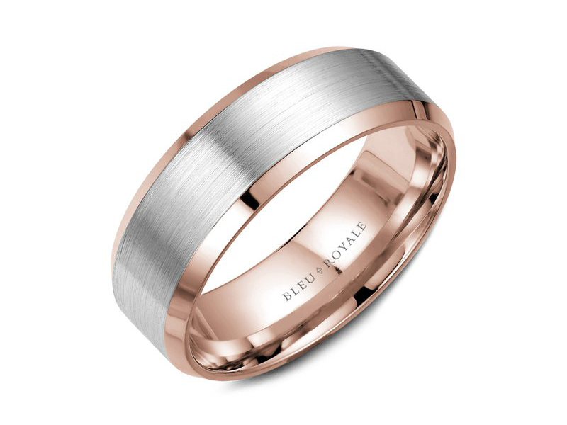 Bleu Royale rose and white gold beveled mens band by Crown Ring