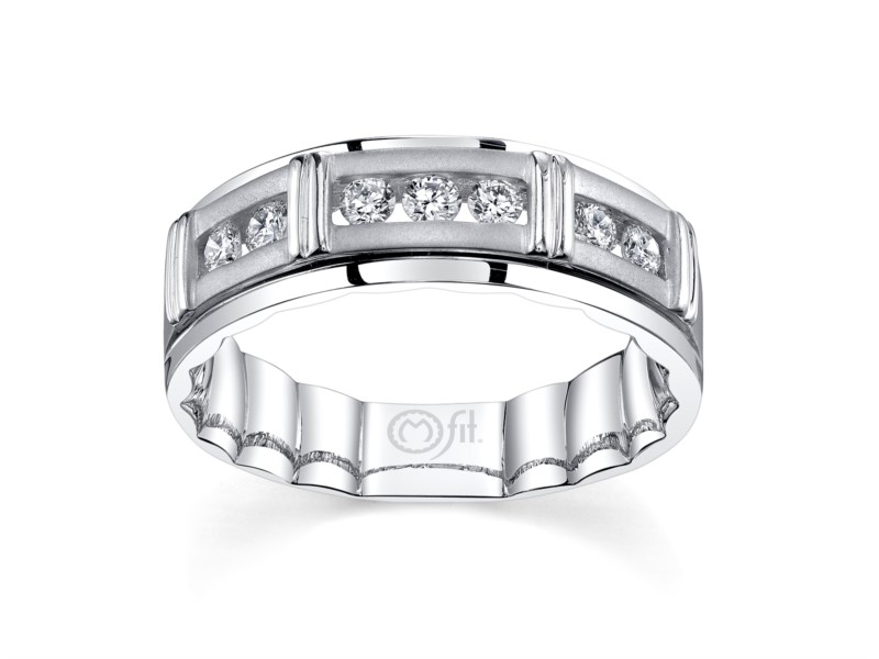 14k white gold mens band with channel set diamonds by MFIT