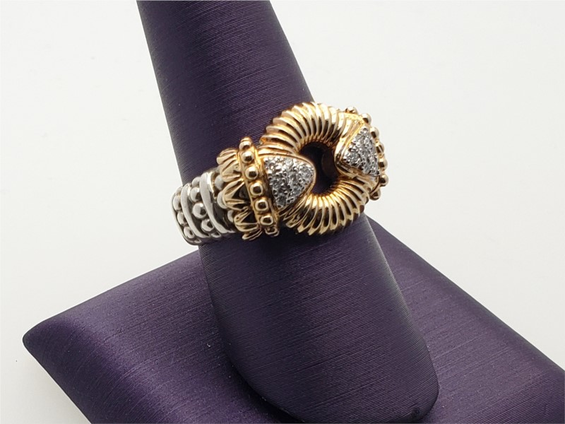 14k yellow gold and sterling silver ring with diamonds by Vahan