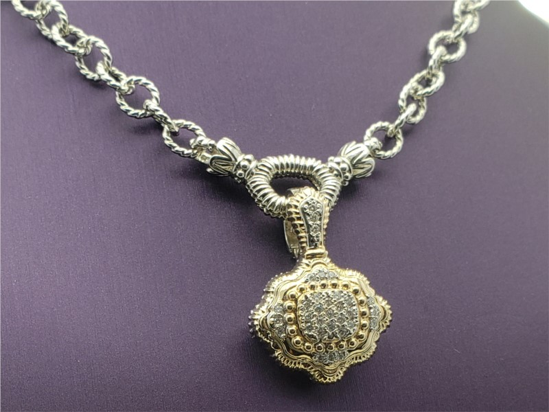 14k yellow gold and sterling silver pendant with diamonds by Vahan