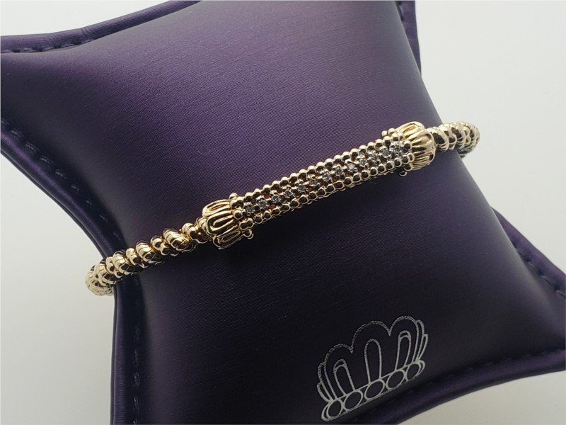14k yellow gold and sterling silver with diamond bracelet by Vahan
