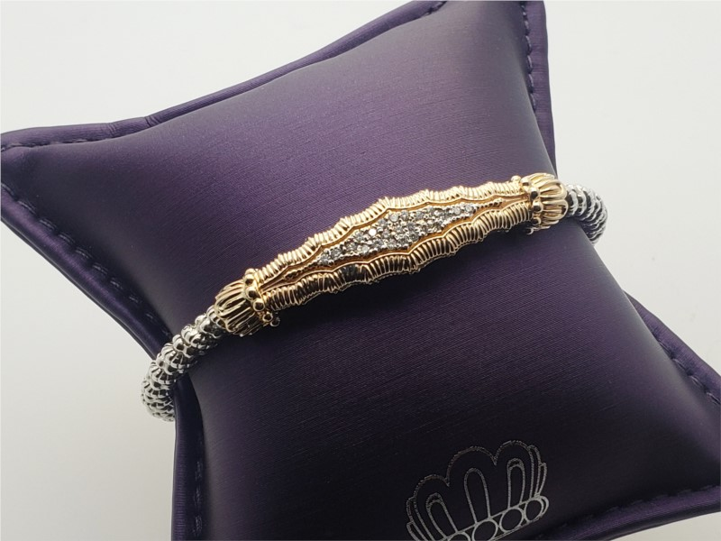 14k yellow gold and sterling silver open cuff bangle with diamonds by Vahan