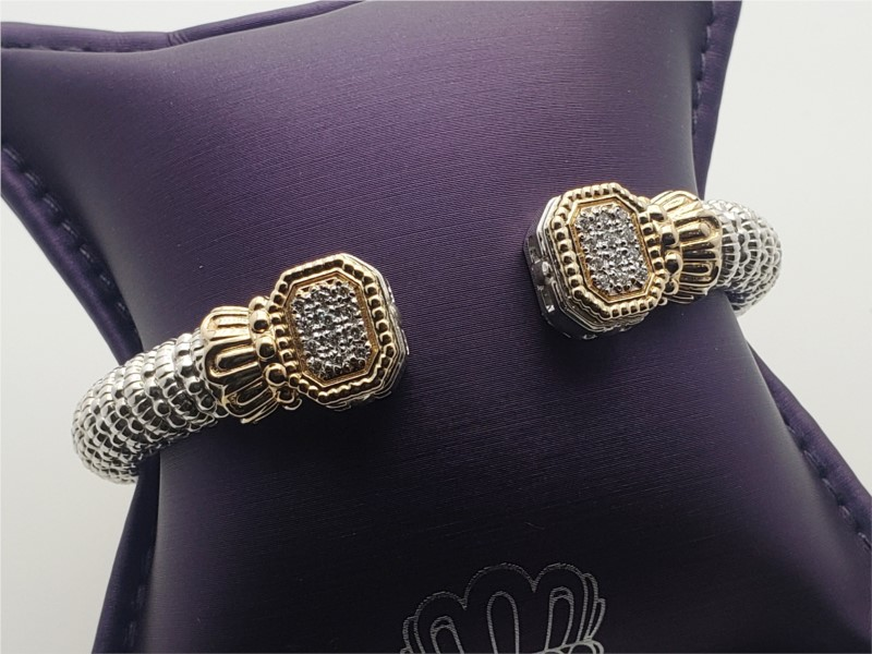 14k yellow gold and sterling silver open cuff bracelet with pave diamonds by Vahan