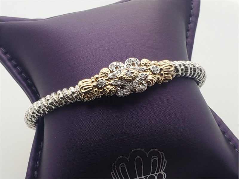 14k yellow gold and sterling silver scroll design bracelet diamonds by Vahan