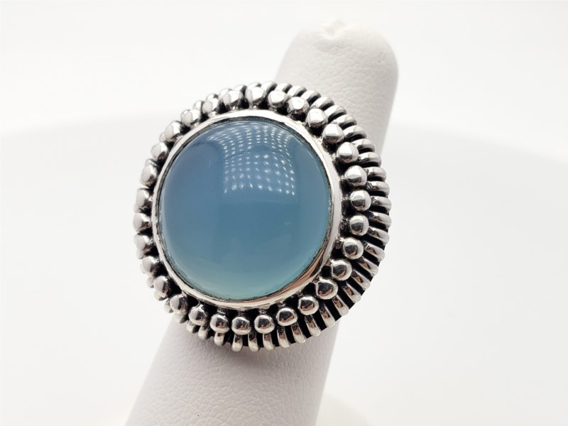 Roxanne Round Blue Chalcedony by Laurent Leger