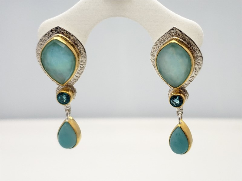 Sterling silver and vermeil earrings with amazonite, checkerboard cut quartz, paraiba topaz, and sky blue topaz, by Michou