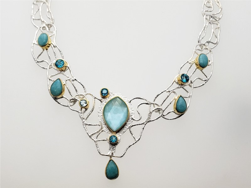 Sterling silver and vermeil amazonite with checkered quartz, amazonite, paraiba topaz, and sky blue topaz by Michou