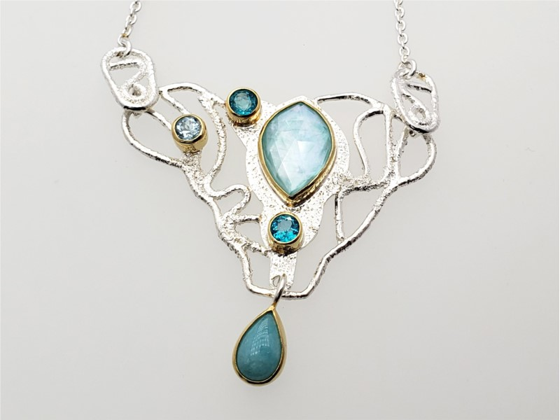 Sterling silver and vermeil necklace with amazonite with checkerd quartz, amazonite, paraiba topaz and sky blue topaz by Michou