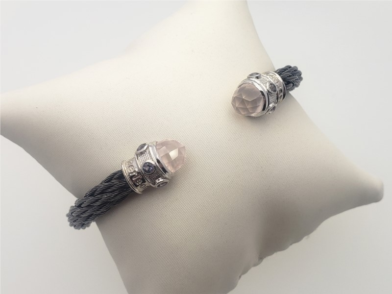 Steel cable with rose quartz and lolite bangle by Goldman Kolber