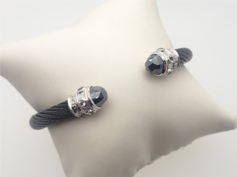 Steel cable with hematite and cz bangle by Goldman Kolber