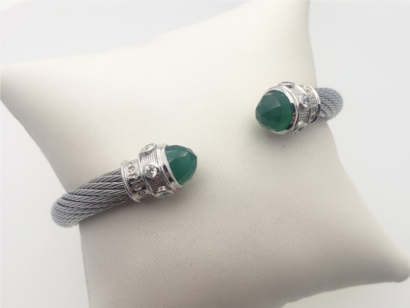 Steel cable with green onyx and cz bangle by Goldman Kolber