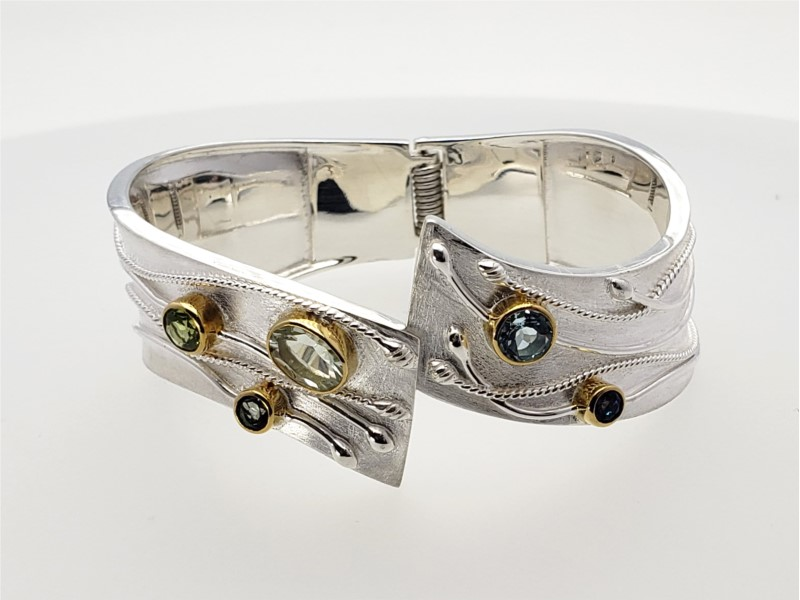 Sterling silver and vermeil hinged bracelet with gemstones by Michou