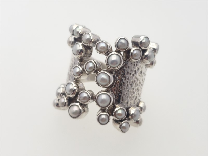 """Andromeda"" freshwater pearl and sterling ring by Laurent Leger"