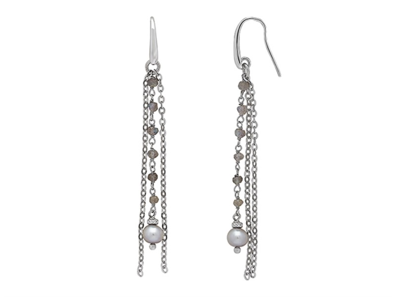 Sterling silver and gray pearl drop earrings by Honora