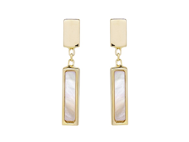 14k yellow gold and mother of pearl drop earrings by Honora