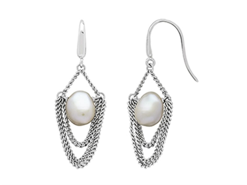 Sterling silver baroque pearl earrings with french hook backs by Honora