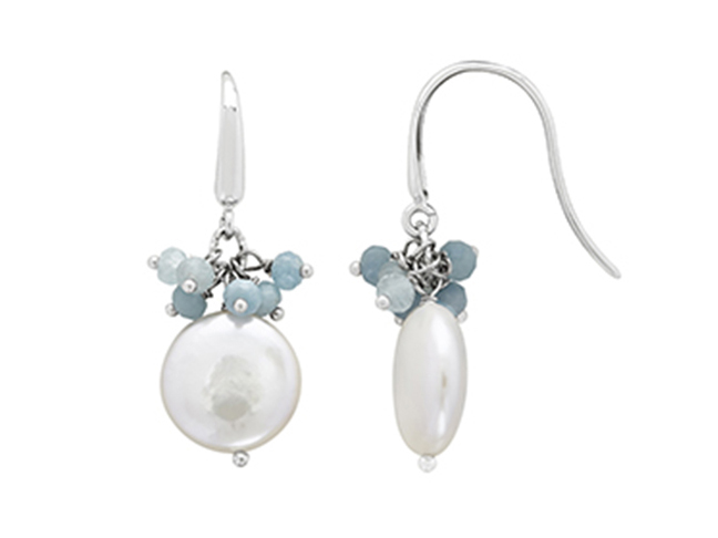 Sterling silver coin pearl and aquamarine earrings by Honora
