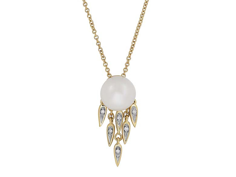 14k yellow gold, pearl and diamond pendant with chain by Honora