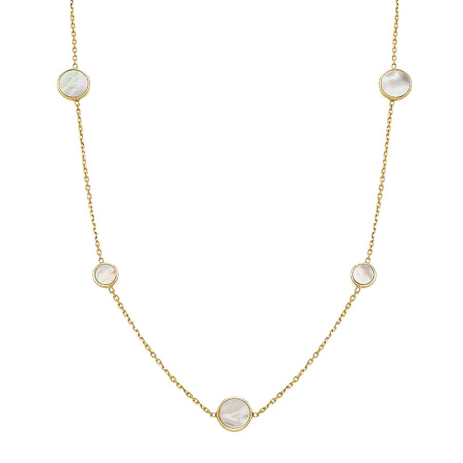 14k yellow gold necklace with circles of mother of pearl by Honora