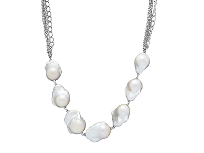 Sterling silver baroque pearl necklace by Honora