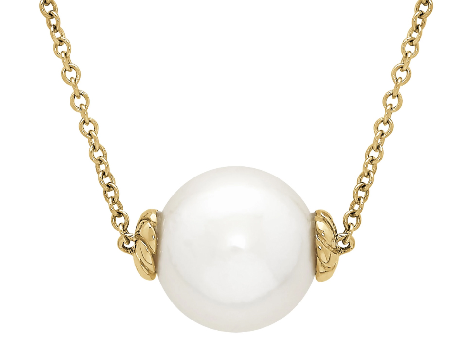 14k yellow gold and large pearl necklace by Honora
