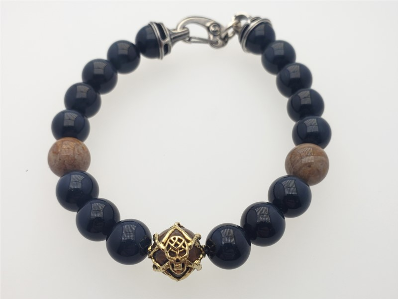 """Dusk"" bead bracelet with petrified wood, blue tiger eye, 18k yellow gold, and sterling silver by William Henry Studio"