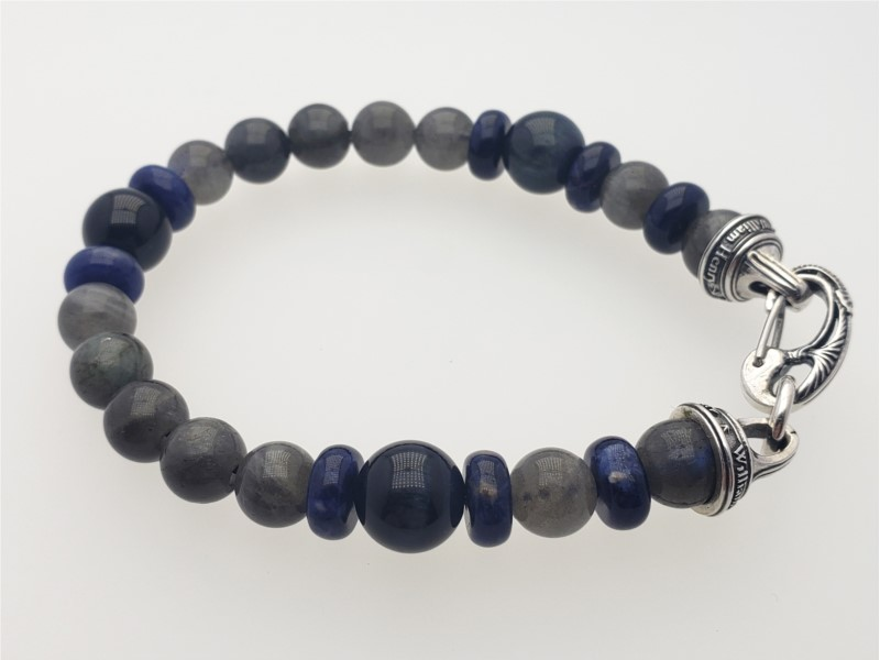 """Magician"" bracelet of labradorite, sodalite, blue tiger eye, stainless cable and sterling by William Henry Studio"