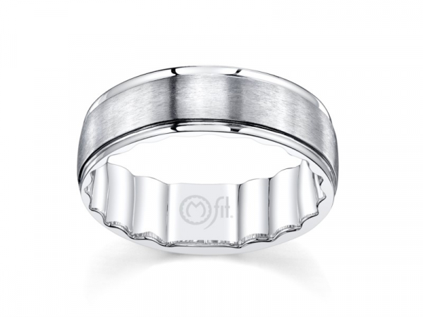 10k white gold mens band with brushed satin center by MFIT