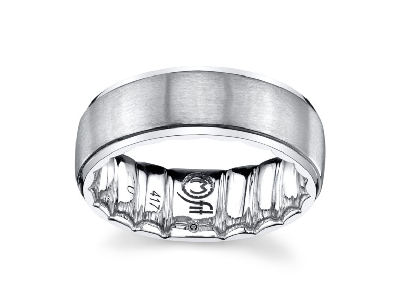 10k white gold mens band with satin center by MFIT
