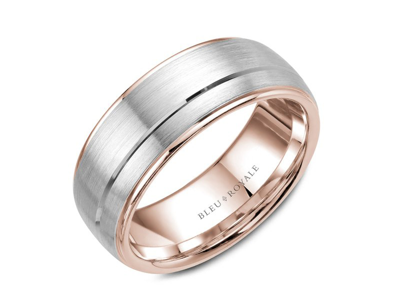 Bleu Royale rose and white gold brushed mens band by Crown Ring