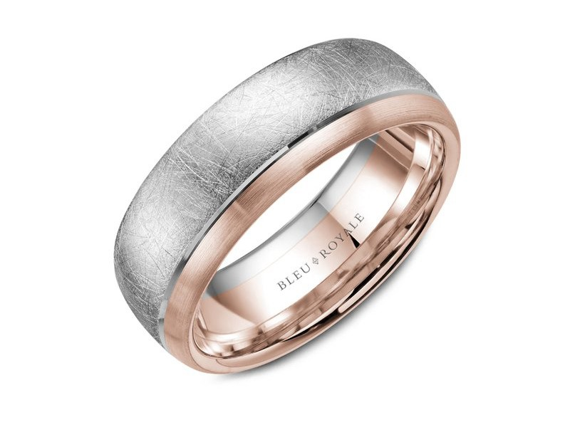 Bleu Royale white and rose gold mixed finish mens band by Crown Ring