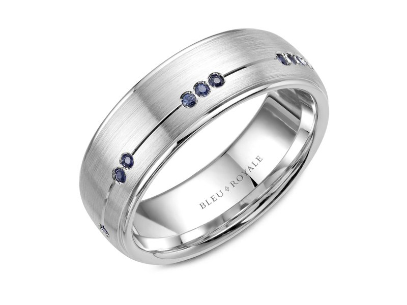 Bleu Royale white gold mens band with brush finish and sapphires by Crown Ring