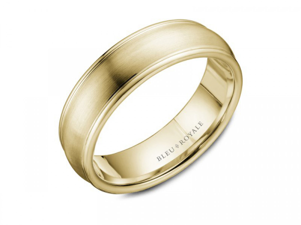 Bleu Royale yellow gold mens band with polished edges by Crown Ring