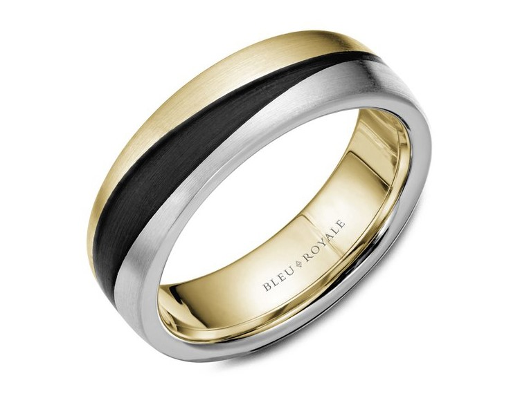 Bleu Royale yellow and white gold mens band with black carbon by Crown Ring