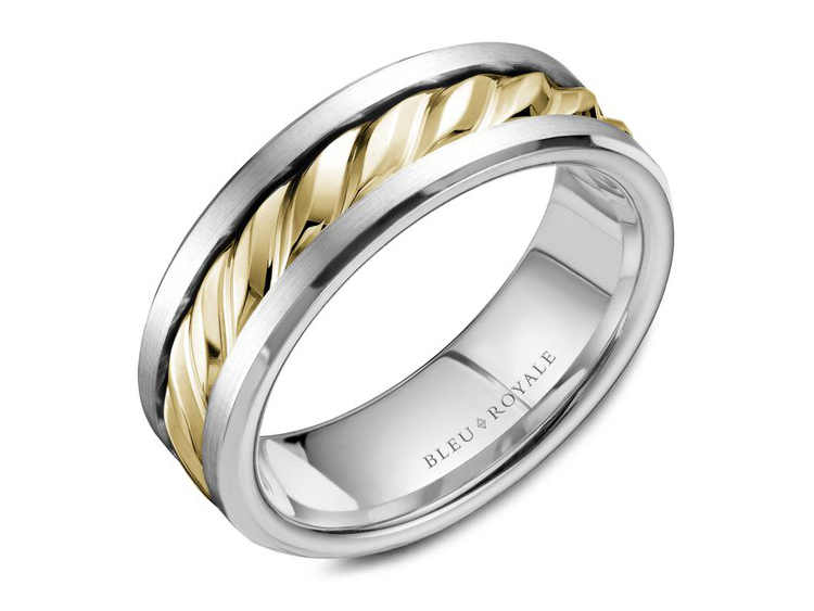Bleu Royale white gold mens band with yellow gold textured center by Crown Ring