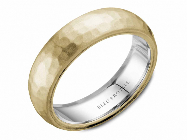 Two tone mens band with yellow gold hammered finish by Crown Ring