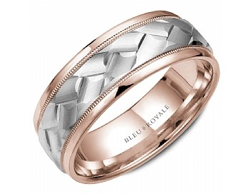 Rose gold mens band with carved white gold and milgrain by Crown Ring