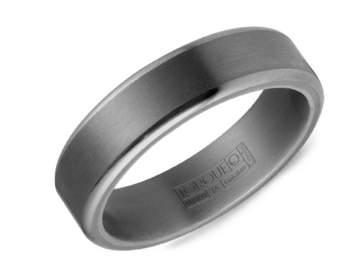 Tantalum mens band with sandpaper center and polished edge by Crown Ring