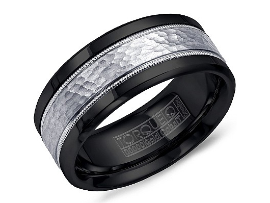 Black cobalt mens band with white gold inlay and milgrain by Crown Ring