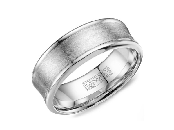 White cobalt mens band with diamond brush inlay and polished edge by Crown Ring