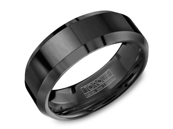 Black ceramic mens band with bevel edge by Crown Ring