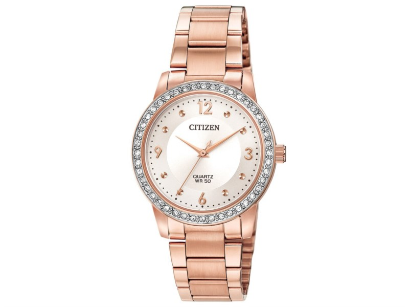 Rose gold stainless steel with crystal accents quartz watch by Citizen