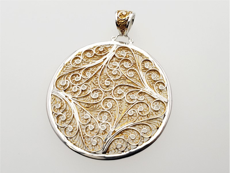 Sterling silver and vermeil enchanted lace pendant by Michou