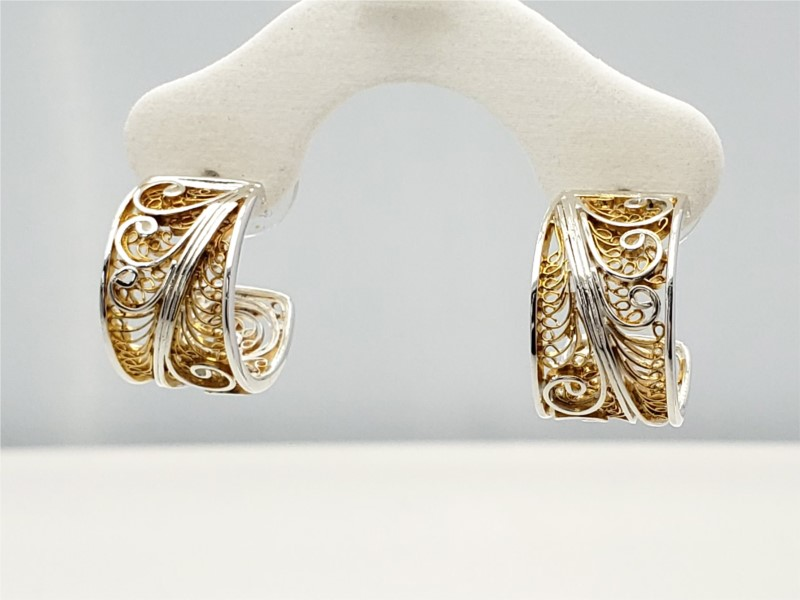 Sterling silver and vermeil enchanted lace hoops by Michou