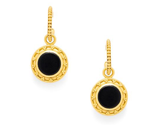Sophia Hoop & Charm Earring in black onyx by Julie Vos