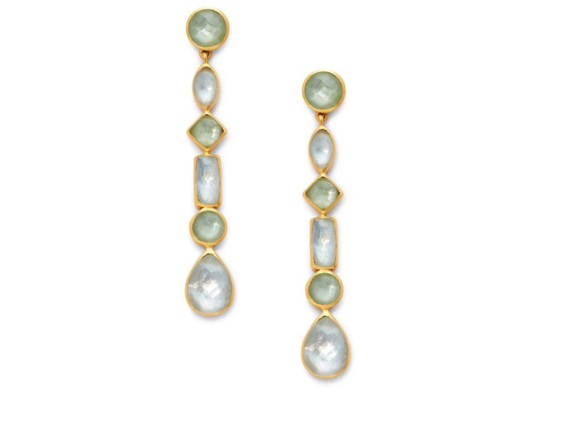 Savannah Statement Earrings in Iridescent Peridot Green by Julie Vos